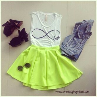 jacket denim green neon top skirt sunglasses round sunglasses