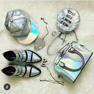 shoes silver rainbow accessories bag snapback alien iridescent holographic flat boots holographic shoes