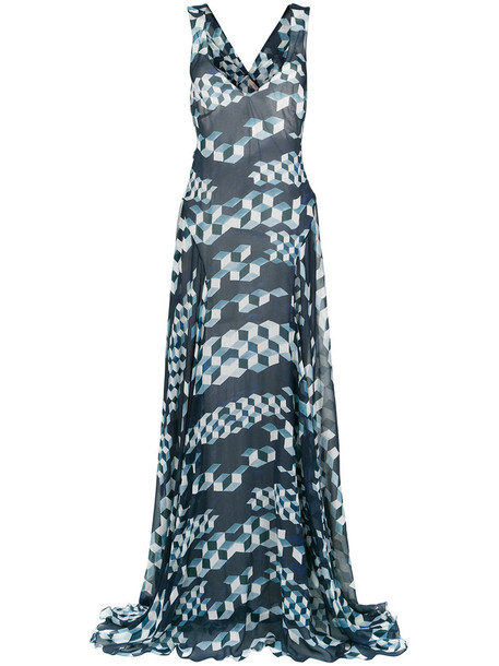 gown women print silk dress