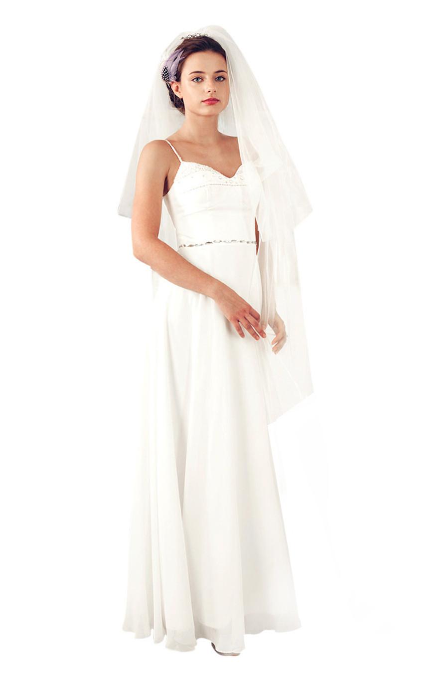 Floor length ivory wedding dress (900878)