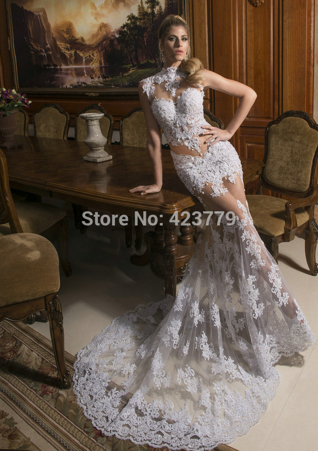 Aliexpress.com : Buy 2014 Sexy Sheer High Neckline Sleeveless Bridal Party Dress Long White Ivory Lace Wedding Dresses from Reliable dress strapless suppliers on 27 Dress
