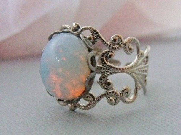 jewels galaxy print white opal ring opal ring opaque silver silver rings white pearls