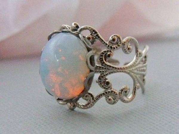 jewels galaxy print ring gem vintage white opal ring opal ring opaque silver silver ring white pearls diamonds heels nail accessories opal