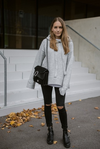 by annna blogger sweater jeans shoes bag fall outfits hoodie ankle boots black pants black bag grey hoodie