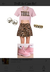 dress,trill,dope,polyvore,outfit,cute,leopard print,gold,earrings,skater skirt,necklace,pink,light pink,cute dress,boots,timberlands,timberland,style,skirt,shirt,t-shirt,chain,shoes,gold chain,urban pastel pink,jewels