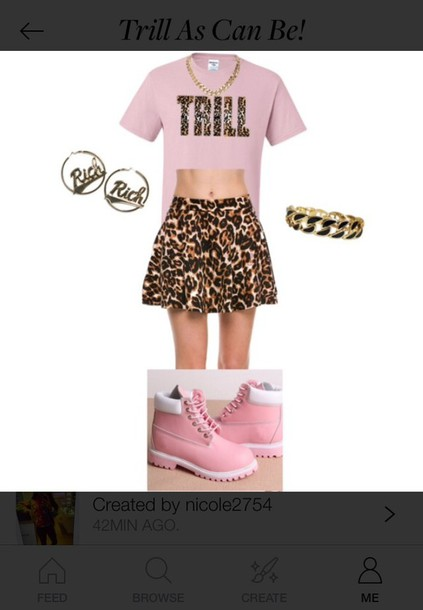 10c362a568 dress trill dope polyvore outfit cute leopard print gold earrings skater  skirt necklace pink light pink