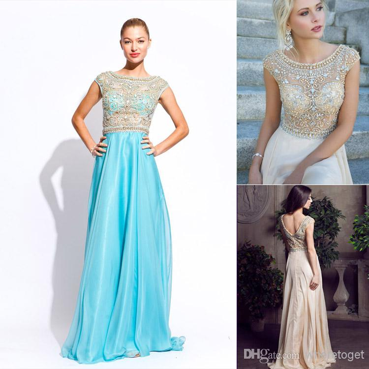 Buy new arrival 2014 crew neck real image dresses sleeveless floor length zipper crystal sheath chiffon beading hot sale party gown ssj aj006, $149.2