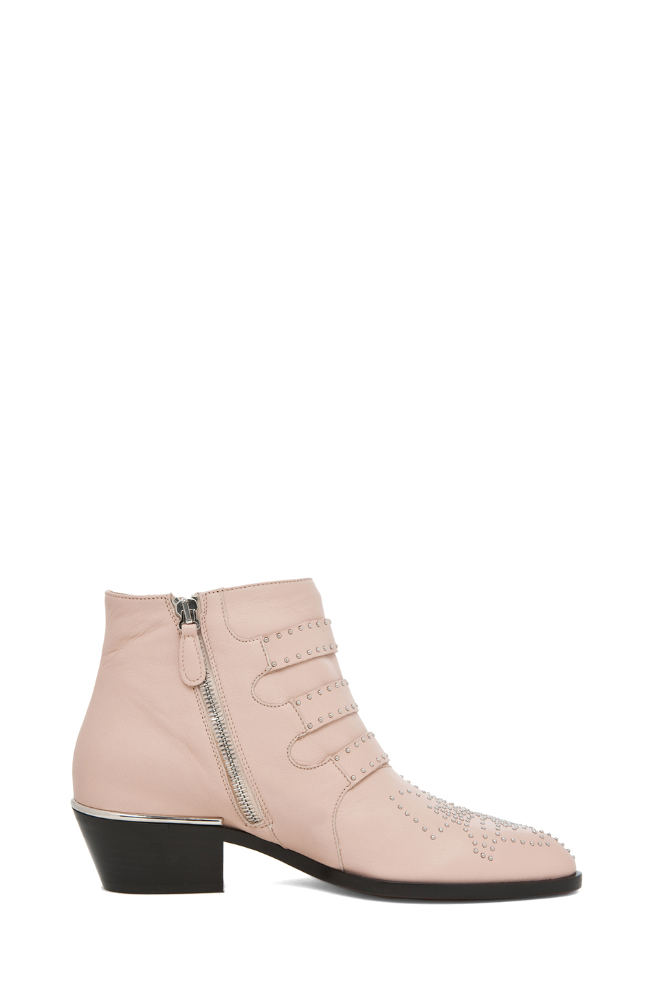 Chloe|Susanna Leather Studded Bootie in Nude Pink
