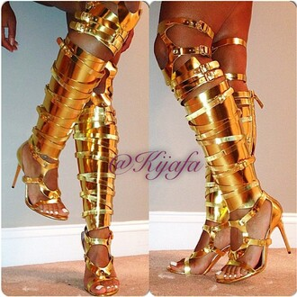 shoes boots gold trending summer outfits spring summer 2014 golden gladiator heels thigh high boots metallic shoes hot heels knee highs sexy thigh high boots fashion