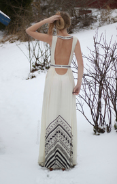 dress,white bohemian dress,cream dress,open back,aztec