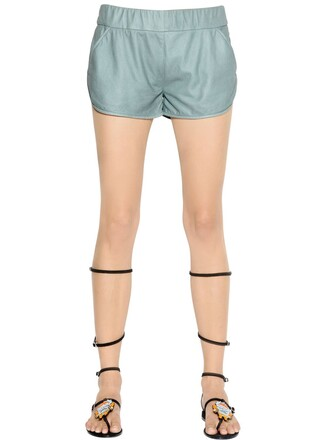 shorts leather shorts leather light green
