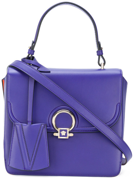 Versace - Medusa disc tote - women - Calf Leather - One Size, Pink/Purple, Calf Leather
