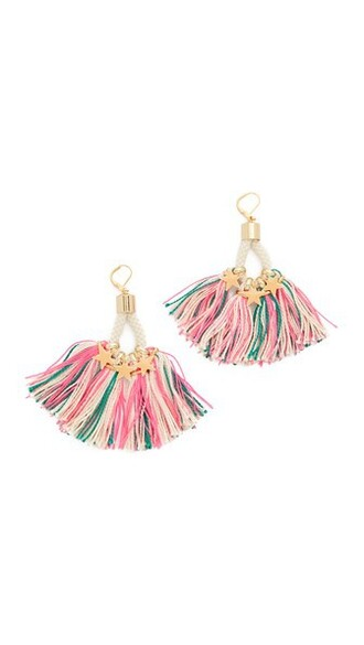 tassel earrings white pink jewels