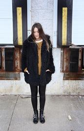 quality rivets,blogger,mustard,fluffy,ankle boots,winter coat,mustard sweater,fuzzy coat,teddy bear coat,black coat,leggings,leather leggings,black leggings,boots,black boots,winter outfits