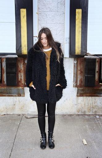 quality rivets blogger mustard fluffy ankle boots winter coat mustard sweater fuzzy coat teddy bear coat black coat leggings leather leggings black leggings boots black boots winter outfits