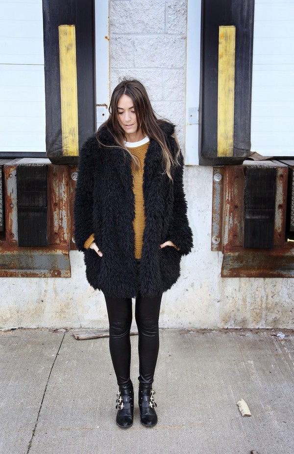 quality rivets blogger mustard fluffy ankle boots winter coat mustard sweater fuzzy coat teddy bear coat black coat leggings leather leggings black leggings boots black boots winter outfits