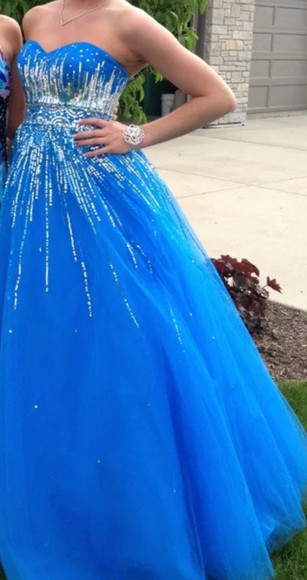 dress prom blue ballgown sequins sparkles