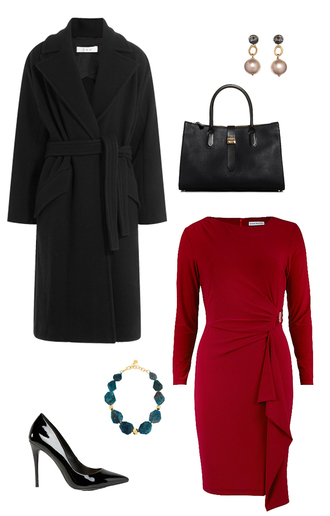 coat wool coat winter outfits work outfits office outfits how to get away with murder pearl earrings dress bag jewels shoes