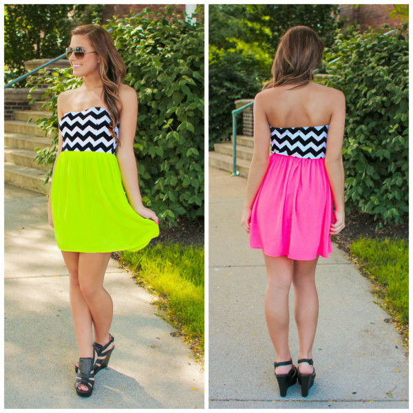 neon yellow lime fit and flare fit flare chevron chevron bust cute dress cute stuff