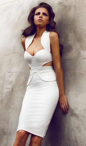 Bqueen White Sweetheart Neckline Halter Cap Sleeve Cut out Bandage Dress H1019