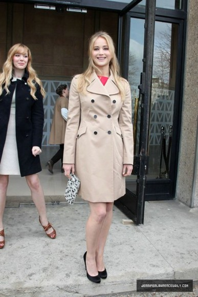 coat trench jennifer lawrence yellow trench coat