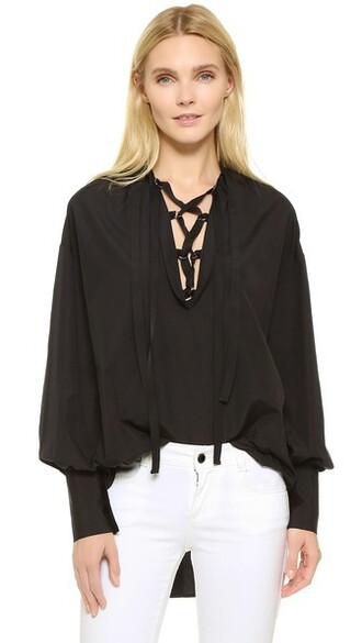 top peasant top cotton black