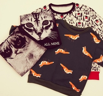 sweater hot fashion style stylish for everyone cats fox beautiful lovely need all of them shopping outfit goofi cute glamour colored