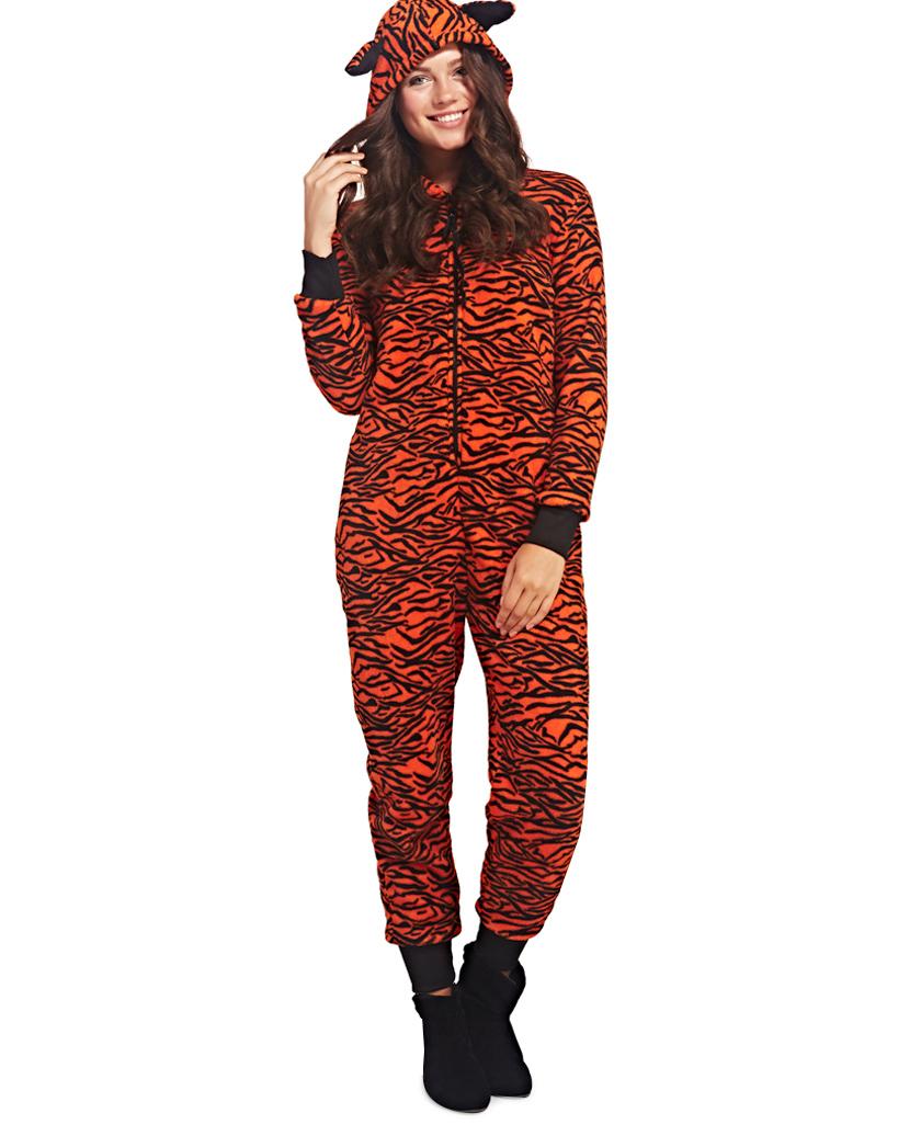 Tiger print hooded onesie