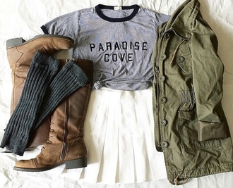 t-shirt top shirt fashion inspo on point clothing pleated skirt american apparel skirt white skirt army green jacket green jacket brown boots boots socks grey socks tumblr outfit tumblr shirt tumblr shoes tumblr top tumblr girl cute outfit stylish trendy teen teenager jacket