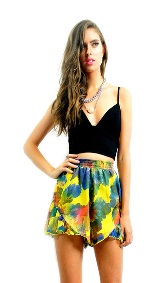 summer shorts cute shorts ootd ruffles yellow shorts divergence clothing high waisted shorts tropical print shorts