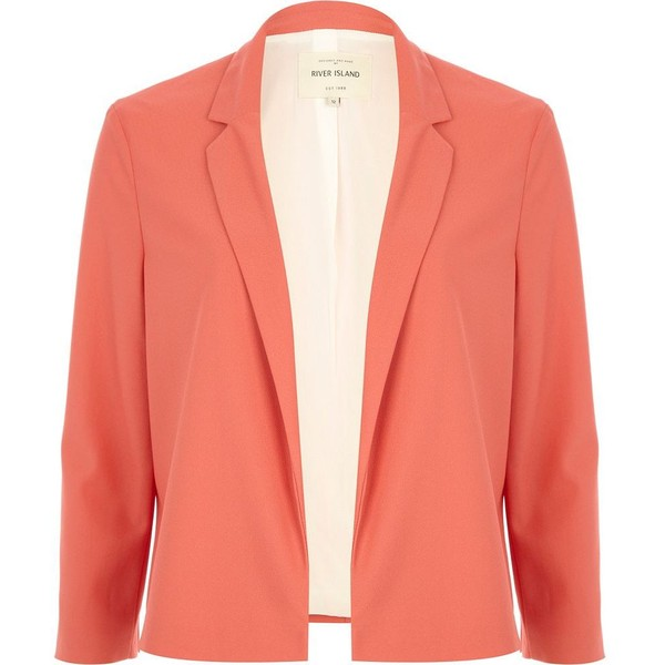 River Island Pink unfastened cropped blazer - Polyvore