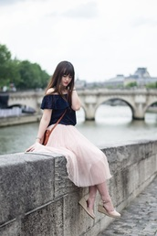 meet me in paree,blogger,top,skirt,bag,shoes,off the shoulder,blouse,blue top
