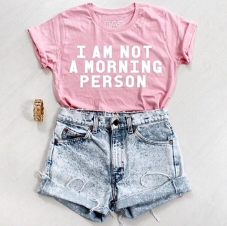 clothes t-shirt top outfit casual cute jewels pink style shorts accessories denim shorts high waisted shorts