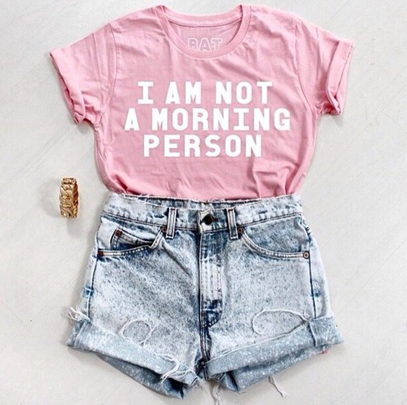 clothes shorts cute style top t-shirt outfit High waisted shorts denim shorts accessories jewels pink casual