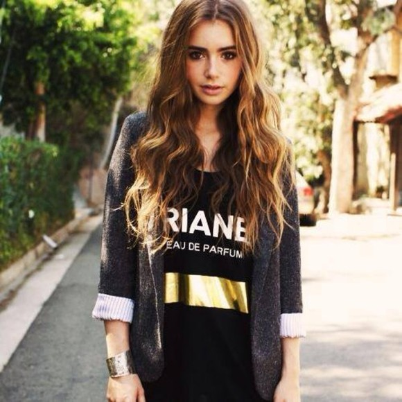 lily collins t-shirt shirt blazer quote on it bracelets gold jewelry