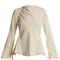 Boat-neck satin-back crepe blouse