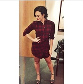 dress,plaid,demi lovato,fall dress,shirt dress,plaid dress,shoes
