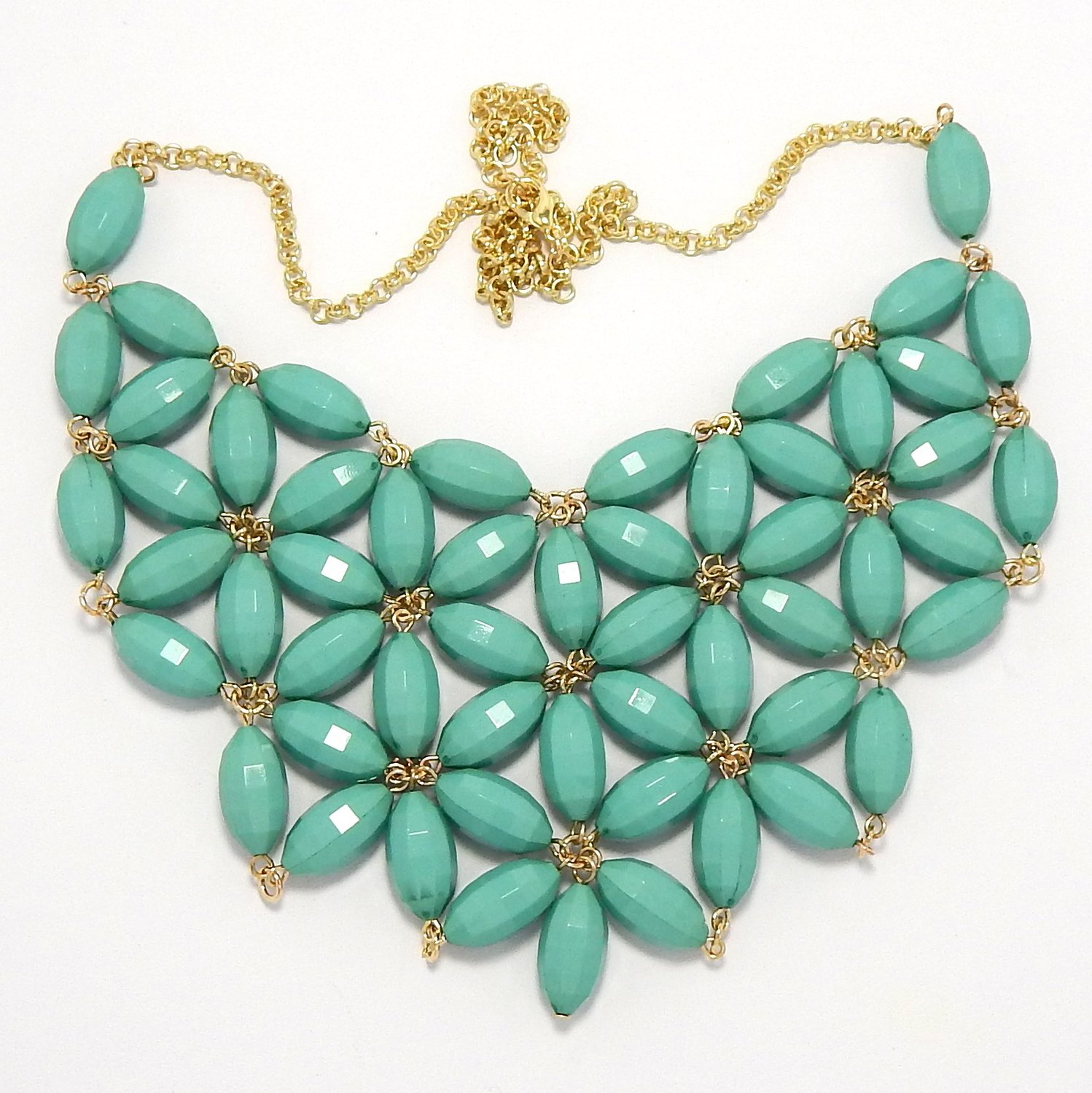 Amazon.com: Pro Jewelry Bib Bauble Necklace in Gold w/ Turquoise Star Design Faceted Barrel Acrylic Beads 0002-4: Jewelry