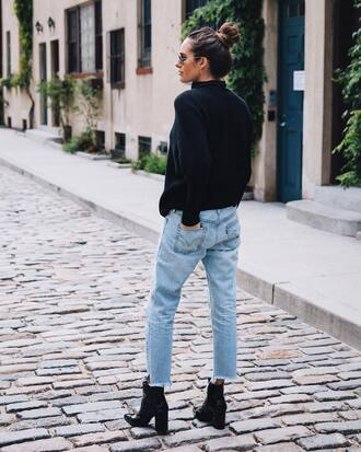 sweater black sweater tumblr knit knitwear denim jeans blue jeans boots ankle boots black boots