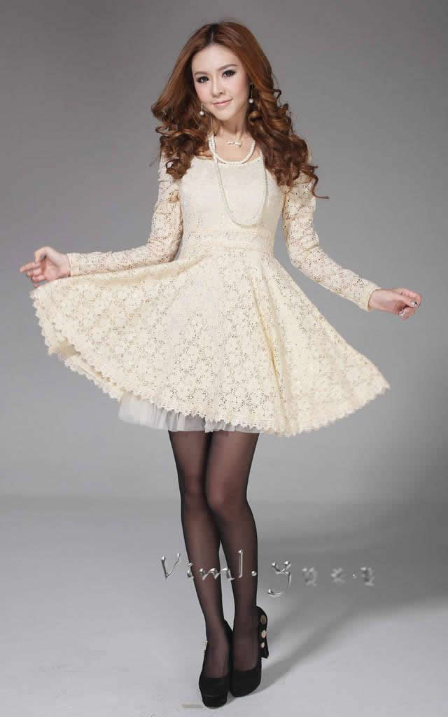 2013 New spring autumn women's  Lace Dress/Sweet Fashion Ladies Skirt /Embroidery pleated big size puff Sleeve Free shipping-in Dresses from Apparel & Accessories on Aliexpress.com