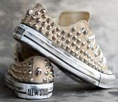 shoes,sneakers,spiked shoes,converse,studs,like,brown,allstars,beige,low,skull,real,chuck taylor all stars,beige shoes,studded converses,fashion,girl,conversy,studd