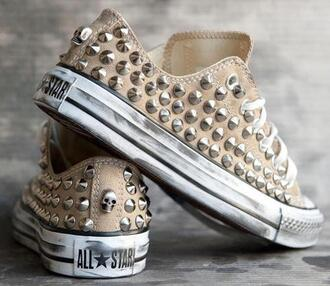 shoes sneakers spiked shoes converse studs like brown allstars beige low skull real chuck taylor all stars beige shoes studded converses fashion girl conversy studd