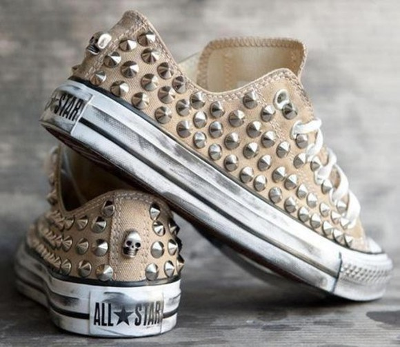 shoes studs allstars beige low skull real sneakers spiked shoes all stars like brown