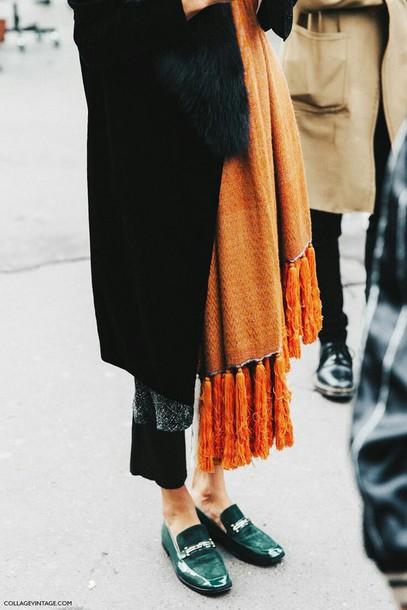 Scarf Orange Knit Fashion Streetstyle Tassel Fringes Orange Scarf Knitted Scarf Shoes