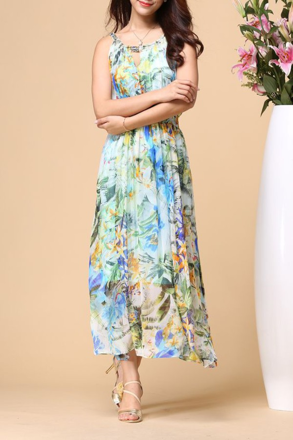 dress dezzal floral fashion trendy style maxi dress summer summer dress