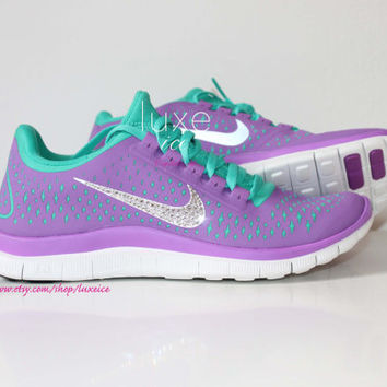NIKE run free 3.0 v4 running shoes w/Swarovski Crystals detail - Purple/violet green LIMITED size 8 on Wanelo