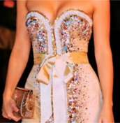 dress,bag,sparkly dress,multicolor,bow,white,beading,modnessa,short,ribbon,strapless,jewels