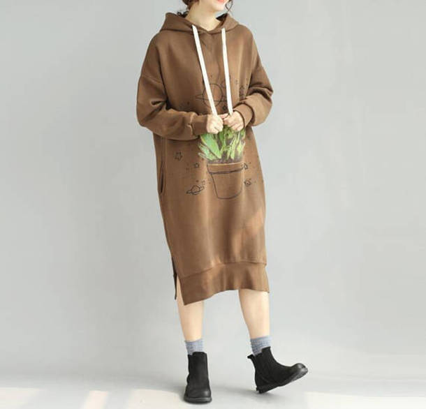 dress hooded long dress