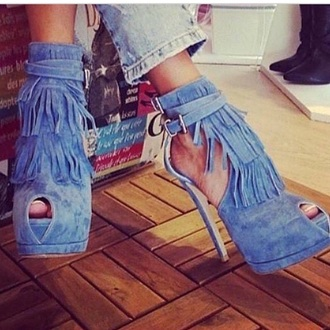 shoes heels high heels blue high heels cute high heels suede ankle boots blue fringes fringe heels sexy open toes tassel suede peep toe platform shoes