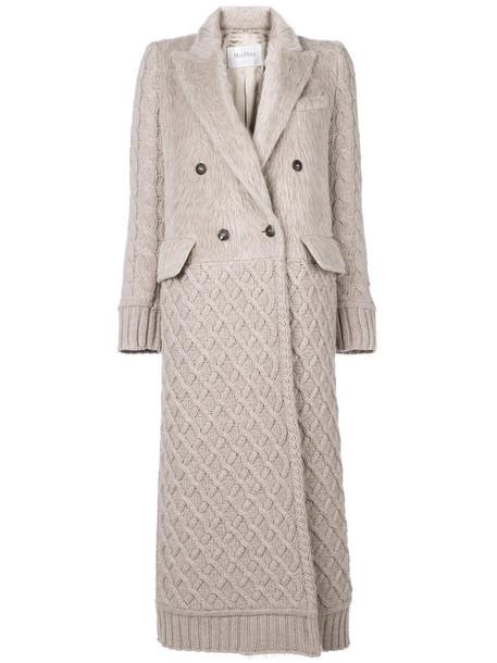 Max Mara coat double breasted women spandex nude wool